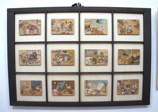 清水さんが描く木彩画。それぞれが木ハガキとして、実際にポストに投函することもできます